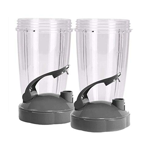 Blendin Flip Top To Go Lid with 24oz Tall Cup,Compatible with Nutribullet 600W 900W Blenders (2 Pack) (Ninja Bullet Replacement Parts)