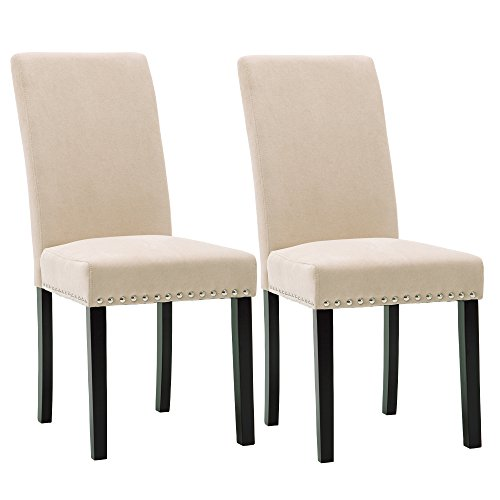 - Upholstered Dining Chairs Padded Parson Chair with Silver Nails and Solid Wood Legs Set of 2(Beige)
