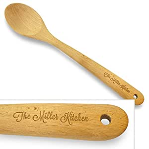 Cookbook People Personally Engraved 14in Large Wood Spoon Solid - Add name to handle - No Holes Beech Hard Wood - Heirloom Quality