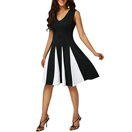 YKARITIANNA Women Plus Size Striped Sexy V-Neck Sleeveless Patchwork Party Evening Dress 2019 Summer Black