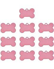 POPETPOP 20 Piezas Placa Identificativa para Perros, Collares Colgante para Perro y Gato, Etiquetas de Nombre del Mascotas para Perro Gatos, 38MM (Rosa)
