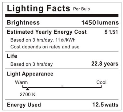 Leson 100 Watt Equivalent A19 Globe LED Light Bulb Standard E26/E27 Base 13W Energy Saving, Soft/Warm White 2700K (6 Pack)