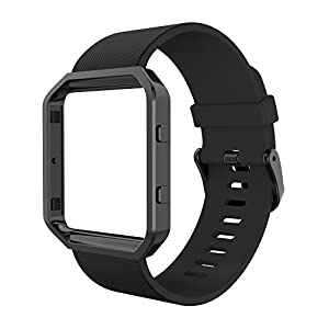 Simpeak Fitbit Blaze Bands with Frame, Silicone Replacement Band Strap with Black Frame Case for Fit bit Blaze Smart Fitness Watch, Large, Black
