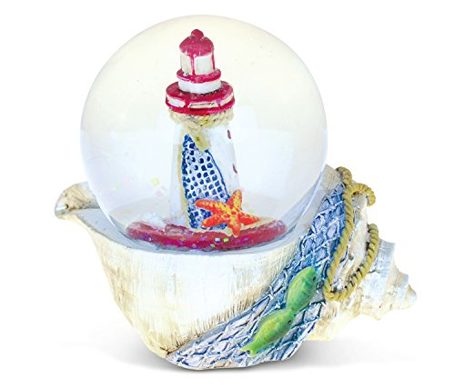 Puzzled Resin Seashell with Red Lighthouse Snow Globe (65mm), 3.5 Inch Figurine Intricate & Meticulous Detailing Art Handcrafted Tabletop Centerpiece Accent Nautical Ocean Sea Life Theme Home Décor ()