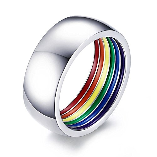 (YIKOXI 8mm Stainless Steel Inner Ring Rainbow enamel Ring Wedding Band Gay Lesbian LGBT Pride Ring,Size 7)