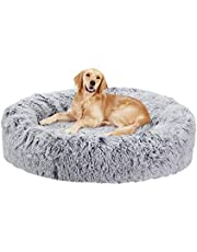 Bingopaw Dog Donut Bed, Fluffy Washable Pet Bed for Large Dogs with Soft Cushion Nesting Cave with Anti-Skip Bottom 90 x90 cm Grey