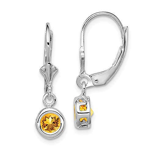 925 Sterling Silver 5mm Round Yellow Citrine Leverback Earrings Lever Back Drop Dangle Fine Jewelry Gifts For Women For Her