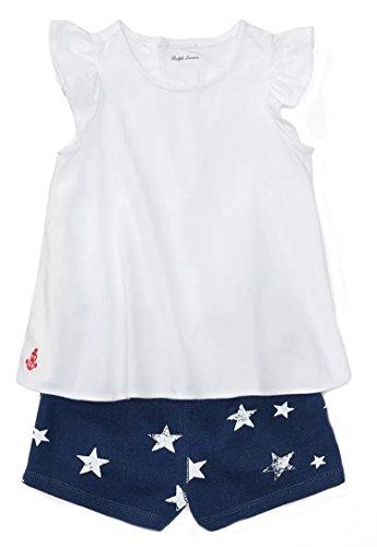 Ralph Lauren Baby Girls Cotton Top & Star Short Set (12 MONTHS, WHITE)