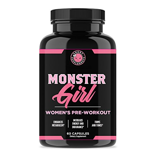 Monster Girl, Women's Pre-Workout + Recovery by Angry Supplements, Apple Cider Vinegar & Garcinia Cambogia for Weight Loss & Shape – Boosts Energy w. Caffeine, Yerba Mate, Ginseng & Guarana (1-Bottle)