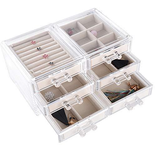 BUONDAC Caja Joyero Organizador Joyerías Estuche de Almacenamiento para Joyas Anillos Bisutería Pendientes Collares Pulseras Aretes