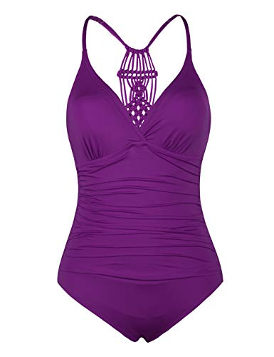 Hilor Women's Shirred Halter One Piece Swimsuits Macrame Back Swimwear Solid Bathing Suit Wine Berry 16