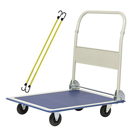 iBoost Solid Steel Hand Truck, Folding Dolly, Cart Holds Up to 380 lbs. with Set of Strong Bungee Cords by iBoost