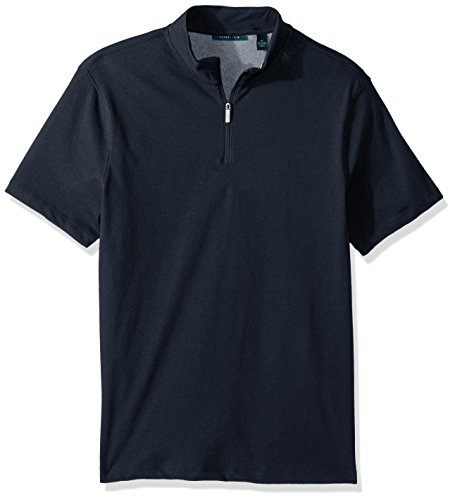 Perry Ellis Men's Plaided Quarter Zip Polo, Eclipse, Medium