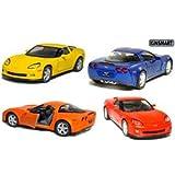 "Set of 4: 5"" 2007 Chevy Corvette Z06 1:36 Scale (Blue/Orange/Red/Yellow)"