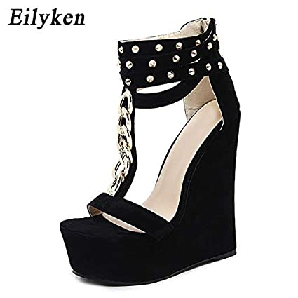 1a656c38f Image Unavailable. Image not available for. Color: JingZhou 2018 Gladiator  Women Sandals High Heels Fashion Chain Platform Wedges Shoes for