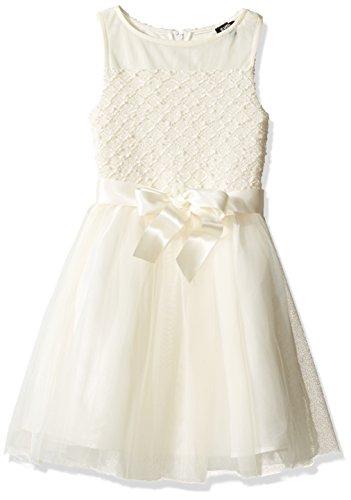 ZUNIE Girls' Big Illusion Sparkle Sweater Knit Boucle Dress, Ivory 14