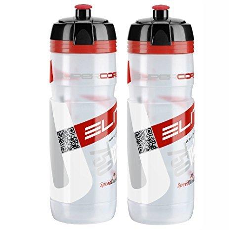 Elite Super Corsa Water Bottles - Clear/Red, 750ml/ea (x2)