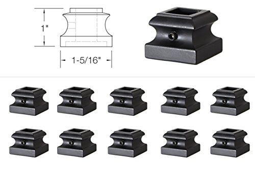 "Iron Baluster Shoes - Flat Shoe with Screw - For Use with 1/2"" Square Balusters - Set of 10 (Satin Black)"