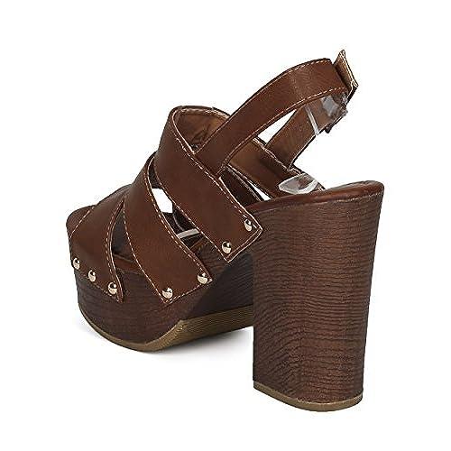 Block Faux Wooden Studded Sandal Platform Heel Chunky Women tCshdQr