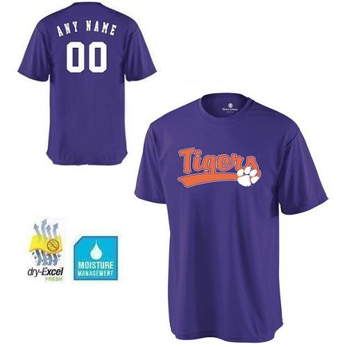 (Youth Large Clemson Tigers CUSTOMIZED Crewneck Cool-Base Wicking dry-Excel NCAA Officially Licensed Replica Jersey Shirt)