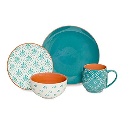 "Oasis 16-piece Dinnerware Set with Stoneware Dinner Plates, Salad Plates, Bowls & Mugs, Turquoise - Service for 4 includes four of each: 10.5"" dinner plates, 7.875"" salad plates, 6"" bowl, and 21.5 oz mug Stoneware Three different and distinct patterns featured throughout come together beautifully to create a landscape of art at your dinner table. - kitchen-tabletop, kitchen-dining-room, dinnerware-sets - 41SH0PiyR2L. SS400  -"