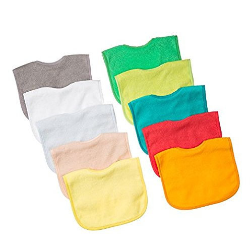 - Waterproof Baby Bibs with Three Snaps, Unisex, Baby, 10 Pack, Solid Colors