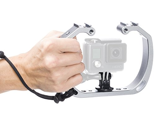 Movo GB-U70 Underwater Diving Rig for GoPro Hero with Cold Shoe Mounts, Wrist Strap - Works with HERO3, HERO4, HERO5, HERO6, HERO7 and Waterproof Action Cams - Perfect Scuba Gear GoPro Accessory (Best Gopro For Underwater)