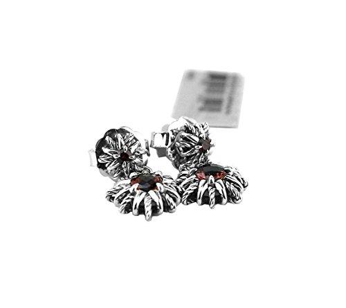 david-yurman-sterling-silver-starburst-double-drop-red-garnet-earrings-new-box