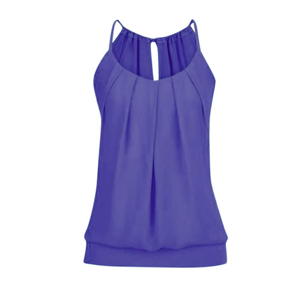 Women Summer Loose Wrinkled Sleeveless O Neck Cami Tank Vest Scoop Neck Top Tunic Blouse Purple