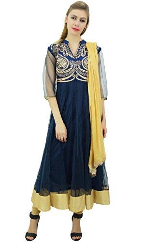 gestickten Atasi von mit Netzkleid Anarkali Marineblau und Beige Dupatta Churidar Kurti Designer wArqIOHAxg