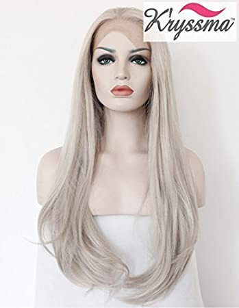 9fd40ca5479f0a K'ryssma® Realistic Wigs for Women Light Grey Natural Straight Long  Synthetic Hair Heat