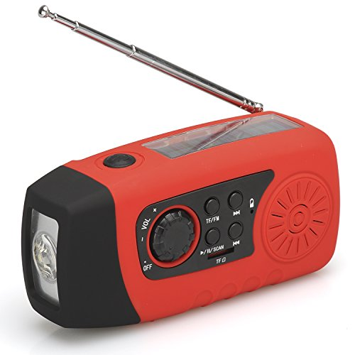 Solar Powered Wind Up Radio (FM or SD card for MP3 playin...