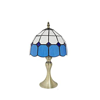 Tiffany Style Desk Lamp Victorian Blue White Lattice Shade Metal