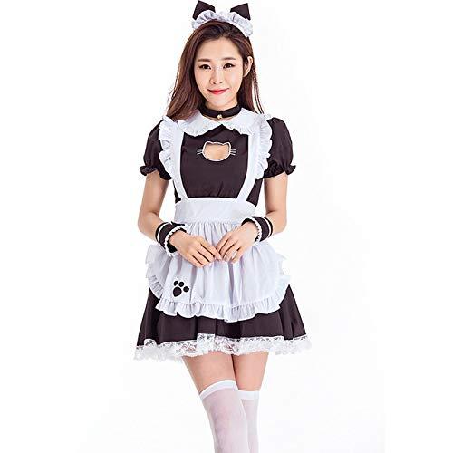 WSJDE Negro Lindo Gato Lolita Maid Vestido Disfraces Cosplay Traje ...