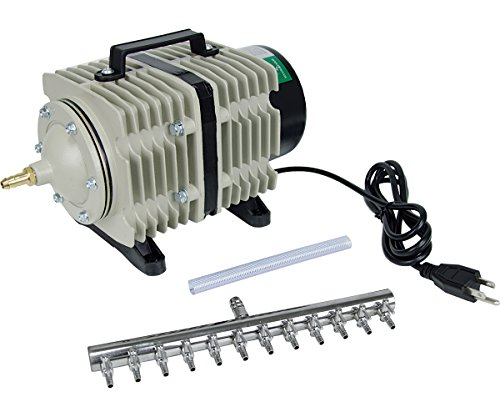 - Hydrofarm Active Aqua Commercial Air Pump, 12 Outlets, 112W, 110 L/min