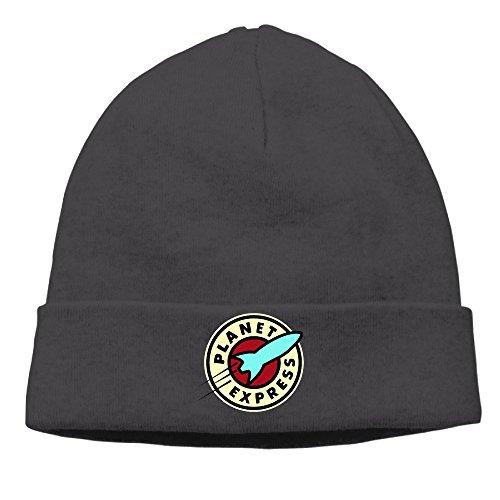 [Caromn Planet Express Star Beanies Skull Ski Cap Hat Black] (Futurama Leela Costumes)