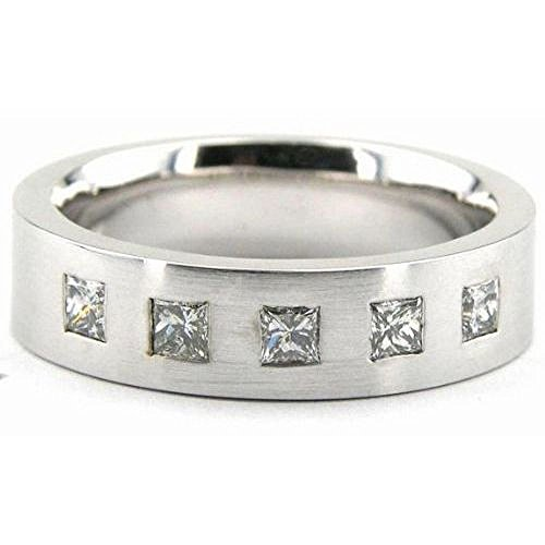 6 Mm Platinum Diamond (950 Platinum 6mm Diamond Wedding Bands Rings 1963 - Size 12.75)