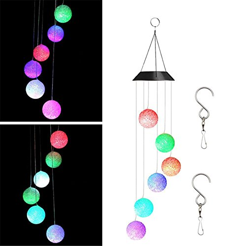 DEWEL Solar Wind Chimes Color Changing Hanging Mobile Wind Chime for Party Night Garden Outdoor Furniture Home Decoration (Glow Ball) by DEWEL