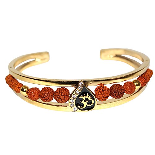 Odishabazaar Men's Rudraksh American Diamond Gold Meena Om Cuff Kada Bracelet