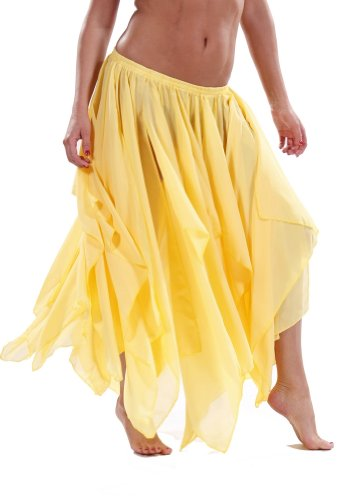 Yellow Belly Dance Costume - BELLY DANCE ACCESSORIES 13 PANEL CHIFFON SKIRT - YELLOW