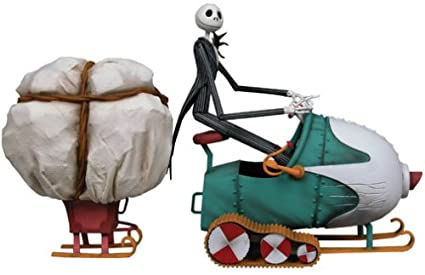 nightmare before christmas jack skellington motorized snowmobile deluxe boxed action figure by neca - Christmas Jack Skellington
