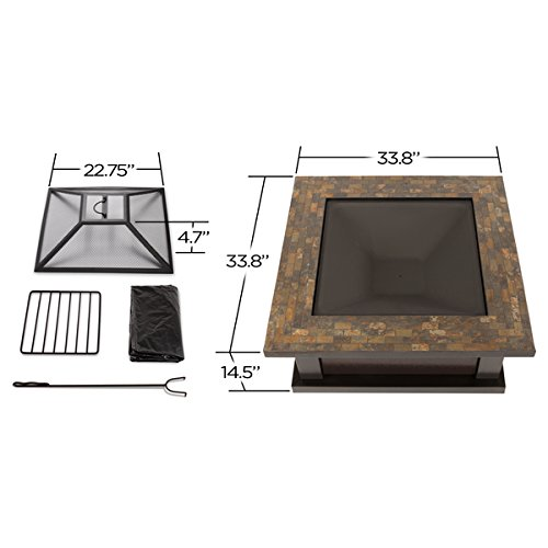 Slate Tile Outdoor Wood Burning Fire Pit | Enjoy a Bonfire in the Comfort of Your Backyard! Comes Complete with Spark Screen, Log Poker Tool and Vinyl Storage Cover by Real Flame (Image #1)