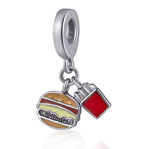 Hamburger Pendant Charm 925 Sterling Silver Beads Fit European Bracelet (Food Bracelet Charms Silver)