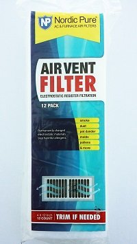 Heating Vent Filter (Air Vent Filters 1 Pack of 12- 4x12 (Register Vent Filters) - by Nordic Pure)