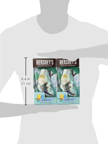 HERSHEY'S Bunny Shaped Chocolate, Solid Milk Chocolate Candy in Speedy Bunny Easter Packaging, 5 Ounce Package (Pack of 4)