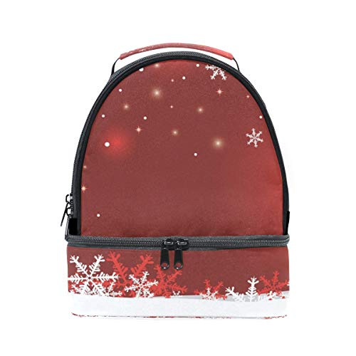 de de ajustable para nieve diseño picnic correa con Bolso doble copo de almuerzo 4Wdcq1PB