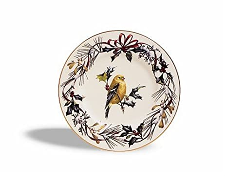 Amazon lenox winter greetings gold banded ivory china lenox winter greetings gold banded ivory china goldfinch 9 accent plate m4hsunfo