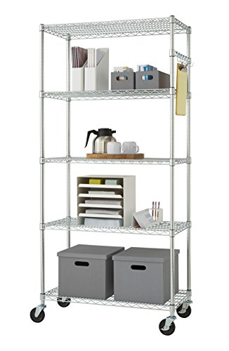 TRINITY EcoStorage 5-Tier NSF Wire Shelving Rack with Wheels, 36 by 18 by 72-Inch, Chrome - Chrome Commercial Shelf