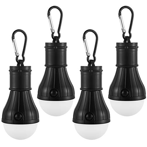 antern Camping Light Bulb Pack, Portable Battery-Operated Outdoor Tent Lamps with Carabiner Clip Hangers, High, Low & Flash Settings | No Fan & Solar (Black Only) ()