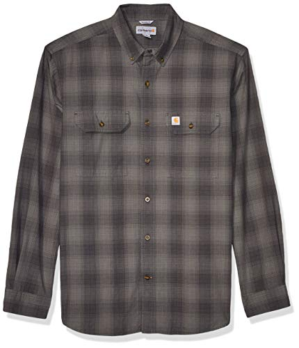 Carhartt Men's Fort Plaid Long Sleeve Shirt, Shadow, Large